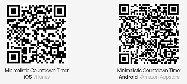 minimalistic countdown timer app QR codes to iTunes and Amazon Appstore